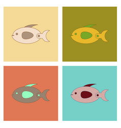 Assembly flat icons kids toy fish vector