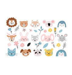 banner with cute baby animals faces and flowers vector image