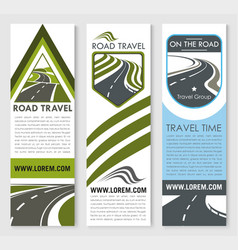 Banners set for road travel company vector