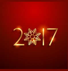 beautiful 2017 text in golden color with vector image