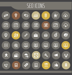 big seo icon set trendy flat icons collection vector image
