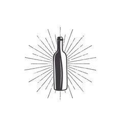 Black wine bottle with sunbursts for vineyard logo vector