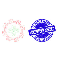 Blue distress volunteer needed stamp and web vector