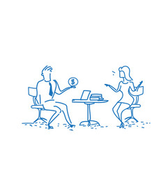 business couple sitting office workplace man vector image