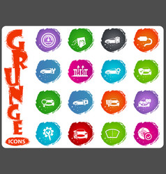 car shop icons set in grunge style vector image