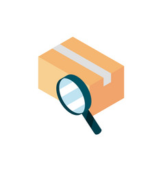 Cardboard box searching online shopping isometric vector