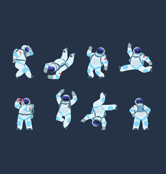 cartoon astronaut dancing party cosmonaut retro vector image