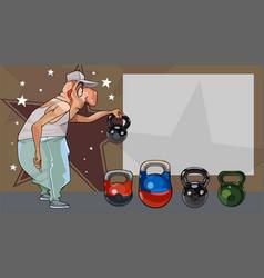 cartoon funny man holding a kettlebell next to an vector image