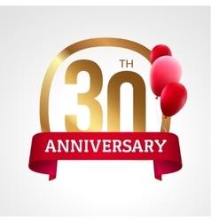 celebrating 30 years anniversary golden label vector image