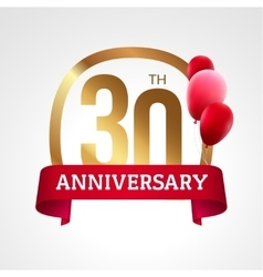 Celebrating 30 years anniversary golden label with vector image