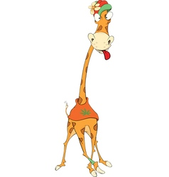 Cheerful giraffe cartoon vector