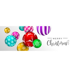 Christmas colorful bauble ornament web banner vector