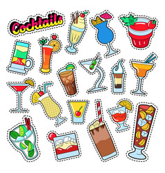 Cocktails and drinks set for stickers badges vector