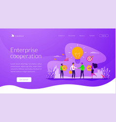 Collaboration landing page template vector