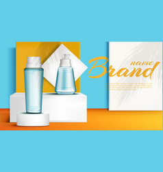 cosmetic bottles on podium stage mock up banner vector image