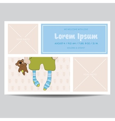 Cute Baby Boy Arrival Card - for Baby Shower vector