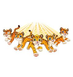 Cute brave tigers running forward cartoon vector