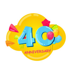 cute cartoon template 40 years anniversary vector image