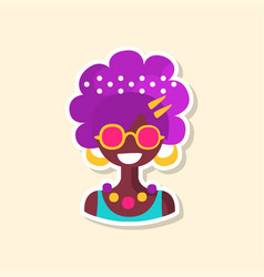 cute colorful hippie woman sticker in bright vector image