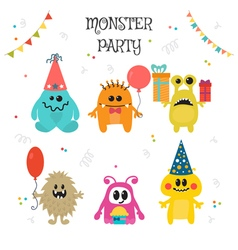 Cute little monsters birthday party vector