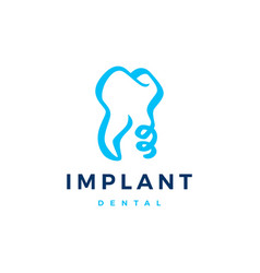 dental implant tooth teeth logo icon vector image