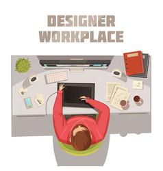 Designer workplace cartoon concept vector
