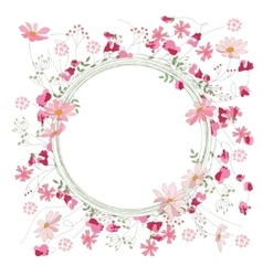 Detailed contour wreath with herbs sweet peas and vector image
