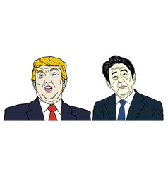 Donald trump and shinzo abe portrait flat design vector