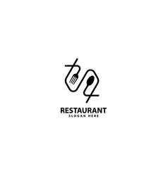 Eat logo cafe or restaurant emblem with fork spoon vector