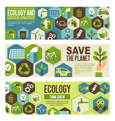 Ecology and green energy eco banner design vector
