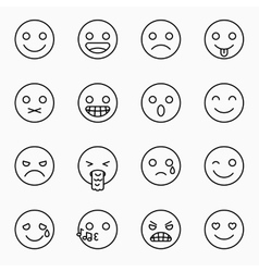 Emoticons set outline website emoticons vector image