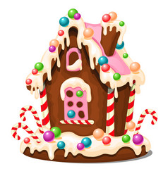 Festive cake in shape of village house decorated vector