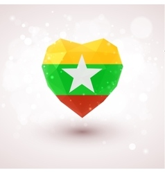 Flag of Myanmar in shape diamond glass heart vector image