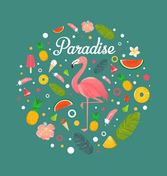 flamingo with fruits and desserts in summer vector image