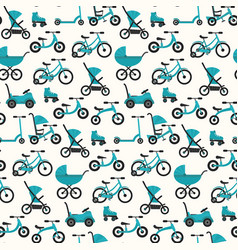 Flat bright blue baby transport pattern vector