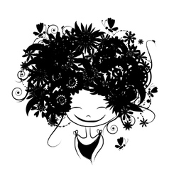 Floral female portrait black silhouette for your vector image