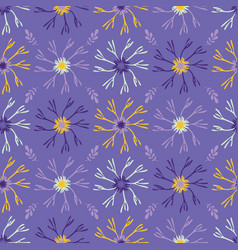 flower bloom petals pattern purple yellow vector image