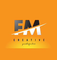 Fm f m letter modern logo design with yellow vector