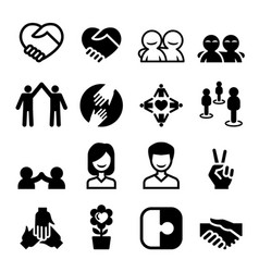friendship icon set vector image