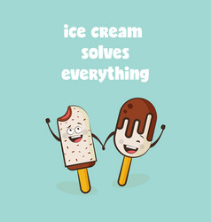 funny ice cream characters vector image