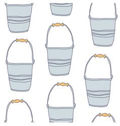 Garden empty tin bucket seamless pattern vector