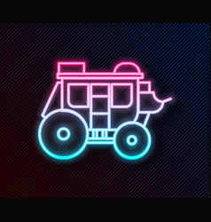 Glowing neon line western stagecoach icon isolated vector