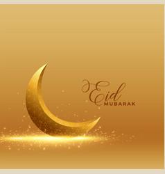 golden eid mubarak background with shiny 3d moon vector image