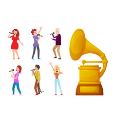 Gramophone gold prize for best song and singers vector