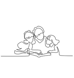 Grandmother reading book with her grandchildren vector