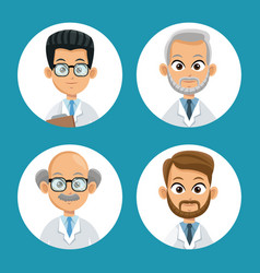 Group doctor professional icons round vector