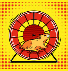 hamster in the wheel pop art vector image