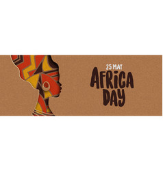 Happy africa day banner african papercut woman vector