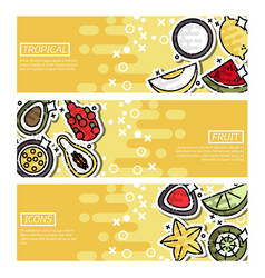 horizontal banners about indian tropical fruit vector image vector image