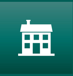 house icon in flat style on green background vector image